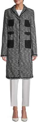Giambattista Valli Tweed Lace-Pocket Overcoat