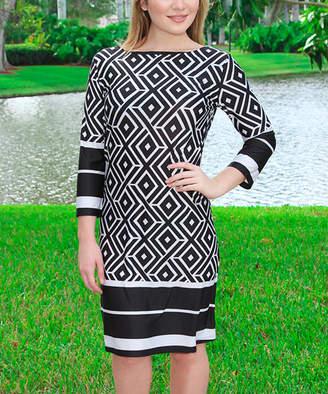 Black Diamond Modern Touch Women's Casual Dresses BLACK/WHITE Shift Dress - Women
