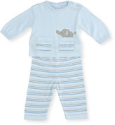 Florence Eiseman Knit Elephant Top w/ Striped Pants, Size 3-12 Months