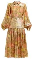 Peter Pilotto Abstract-print Silk-blend Lame Chiffon Midi Dress - Womens - Yellow Multi