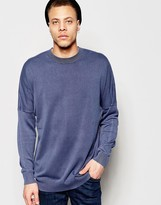 Cheap Monday Crew Jumper Combine Knit Cut & Sew Sleeve In Blue