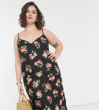 ASOS DESIGN Curve midi cami slip dress in black based floral print