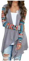 Qissy@Women Comfortable Cardigan Coat Stripe Cotton Shawl Irregular Style (S, )