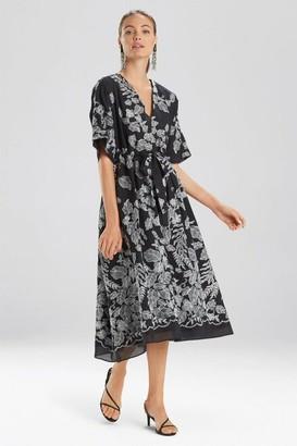 Natori Floral Embroidery Caftan Dress
