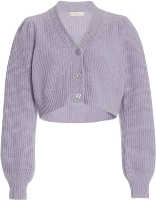 LoveShackFancy Avignon Puff-Sleeve Wool-Cashmere Cropped Cardigan