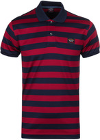 Paul & Shark Cranberry & Navy Striped Pique Polo Shirt