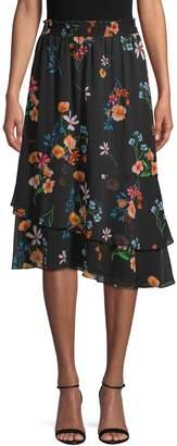 Rachel Roy Botanical-Print Asymmetrical Skirt