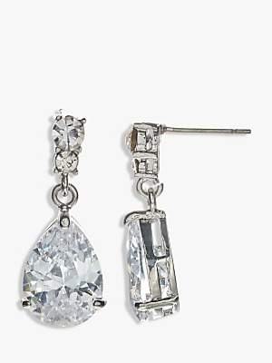 John Lewis & Partners Cubic Zirconia and Teardrop Glass Drop Earrings, Silver