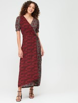 Very Mixed Print Wrap Dress - Rust Floral