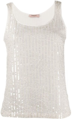 Twin-Set Sequinned Tank Top