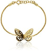 Lara Bohinc Women's 18ct Yellow Gold Plated Sterling Silver Butterfly Chain Bracelet of Length 19cm