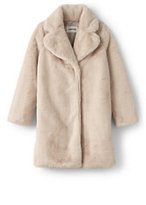 Lands' End Girls Faux Fur Coat-Raspberry
