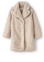 Lands' End Girls Faux Fur Coat-Tan Leopard