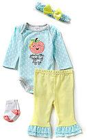 Starting Out Baby Girls Newborn-9 Months Apple Applique 4-Piece Layette Set