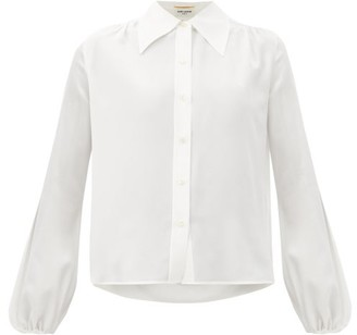 Saint Laurent Spread-collar Gathered Silk-georgette Shirt - White