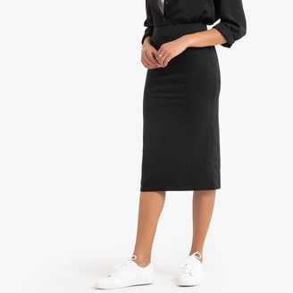 La Redoute Collections Cotton Mid-Length Bodycon Tube Skirt