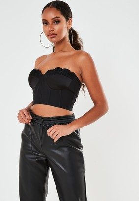 Missguided Black Satin Lace Cupped Corset Bodice