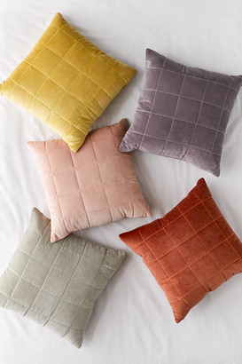 Urban Outfitters Quilted Grid Velvet Throw Pillow
