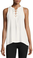 Joie Deasia Lace-Up Silk Tank