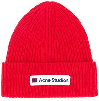 Acne Studios Logo-Patch Beanie Hat