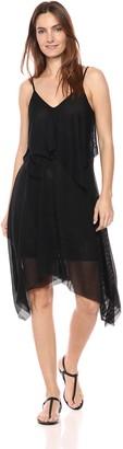 BCBGMAXAZRIA Azria Women's Sleeveless Asymmetrical Striped Overlay Dress