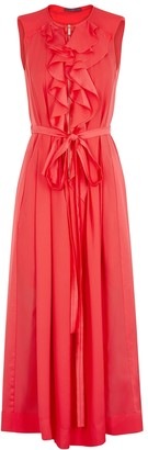 High Invite coral ruffled jumpsuit
