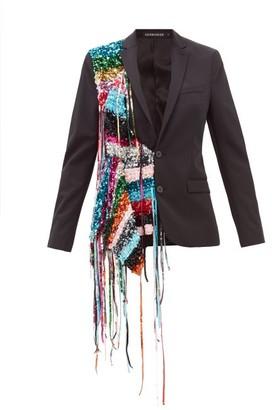 Germanier - Recycled Sequin-strand Twill Blazer - Womens - Black Multi