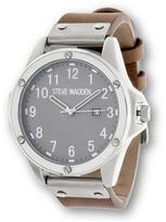 Steve Madden Round Gray Dial Nail Head-Accented Brown Leather Strap Watch