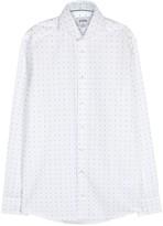 Eton White Slim Printed Poplin Shirt