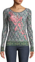 Fuzzi Urban Tribe-Print Embroidered Long-Sleeve Top