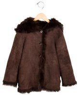 Bonpoint Girls' Shearling Hooded Jacket
