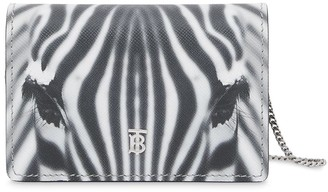 Burberry Zebra Print Card Case With Detachable Strap