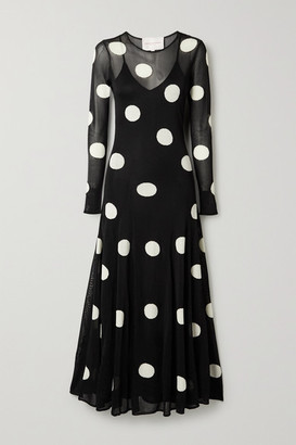 Carolina Herrera Polka-dot Jacquard-knit Maxi Dress - Black