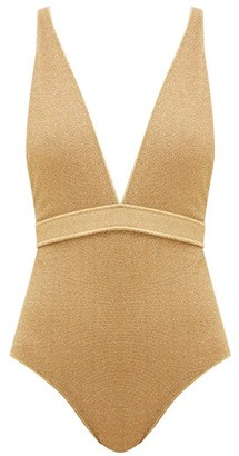 Oseree Lumiere V-neck Metallic Swimsuit - Womens - Gold