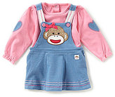 Baby Starters Baby Girls 3-12 Months Sock Monkey Long-Sleeve Shirt & Denim Dress Set
