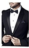 DZT1968 Men's Plain Polyester silk casual jacquard Wedding double bow tie Accessory (A)