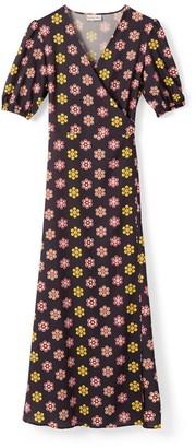 Phoebe Grace Joyce V-Neck Maxi Wrap Puff Sleeve Dress In Grey Daisy