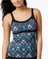 Swim Solutions Geometric-Print Push-Up Tankini Top