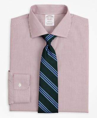Brooks Brothers Stretch Soho Extra-Slim-Fit Dress Shirt, Non-Iron Poplin English Collar Fine Stripe