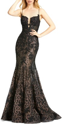 Mac Duggal MacDuggal Sequin Illusion Lace Trumpet Gown