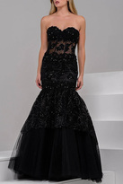 Jovani Strapless Sweetheart Lace Embellished Mermaid Gown 34008