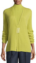 Lafayette 148 New York Ribbed Cashmere V-Neck Magnet-Close Cardigan
