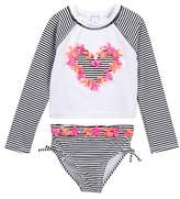 Flapdoodles Black/White Striped Rash Guard Set (Little Girls)