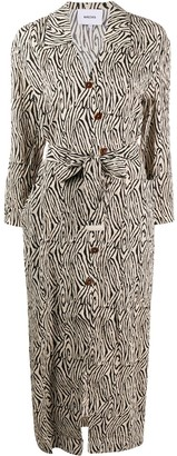Nanushka Wood Grain Print Belted Shirt Dress
