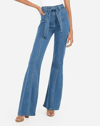 Express Super High Waisted Seamed Dark Wash Bell Flare Jeans