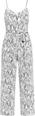 L'Agence Jaelyn Belted Snake-print Silk Crepe De Chine Jumpsuit