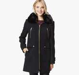 Johnston & Murphy Hooded Wool Coat with Fur Collar