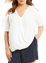 Gibson & Latimer Plus Front Wrap Blouse with Cold-Shoulder Sleeves