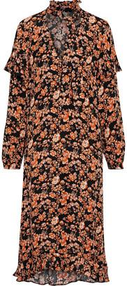 Baum und Pferdgarten Ani Pussy-bow Floral-print Crepe De Chine Midi Dress