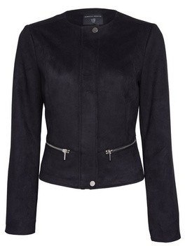 Dorothy Perkins Womens Black Suedette Collarless Jacket, Black